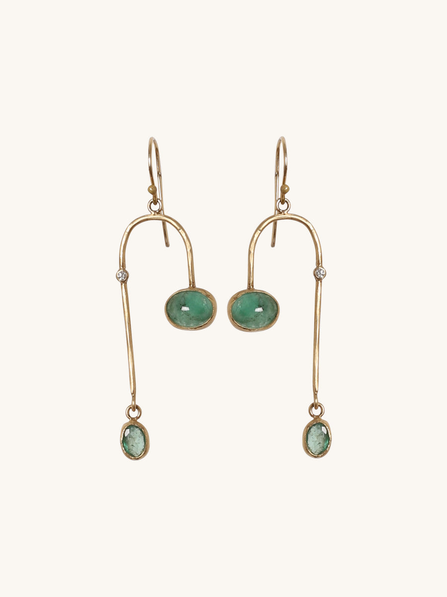 Bezel Set Emerald Arch Earrings