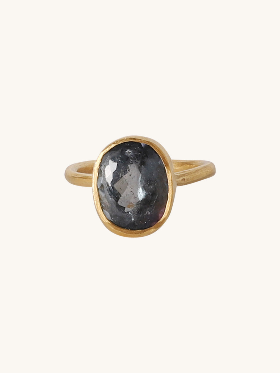 Blue Oval Tourmaline Ring