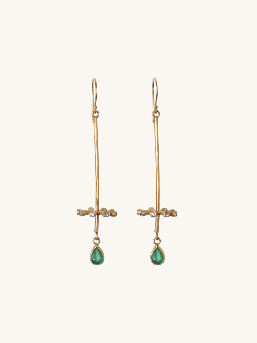 Zambian Emerald Earrings with Diamond Accents