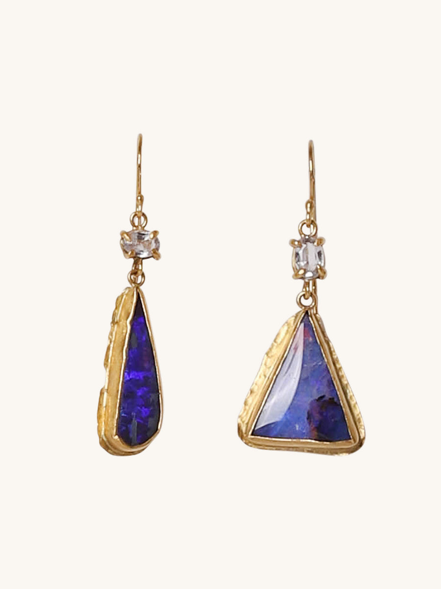 Opal and Sapphire Double Drop Earrings