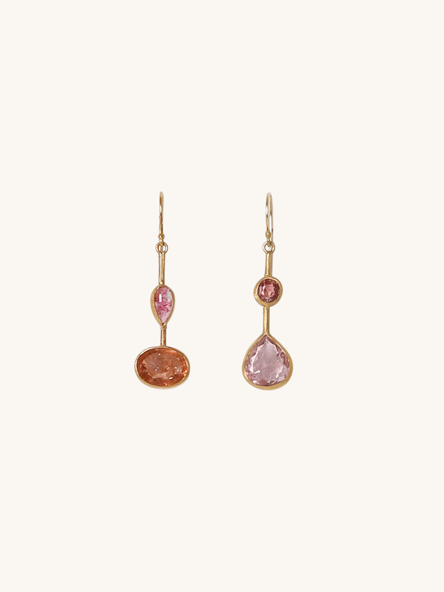 Pink Tourmaline Double Drop Earrings