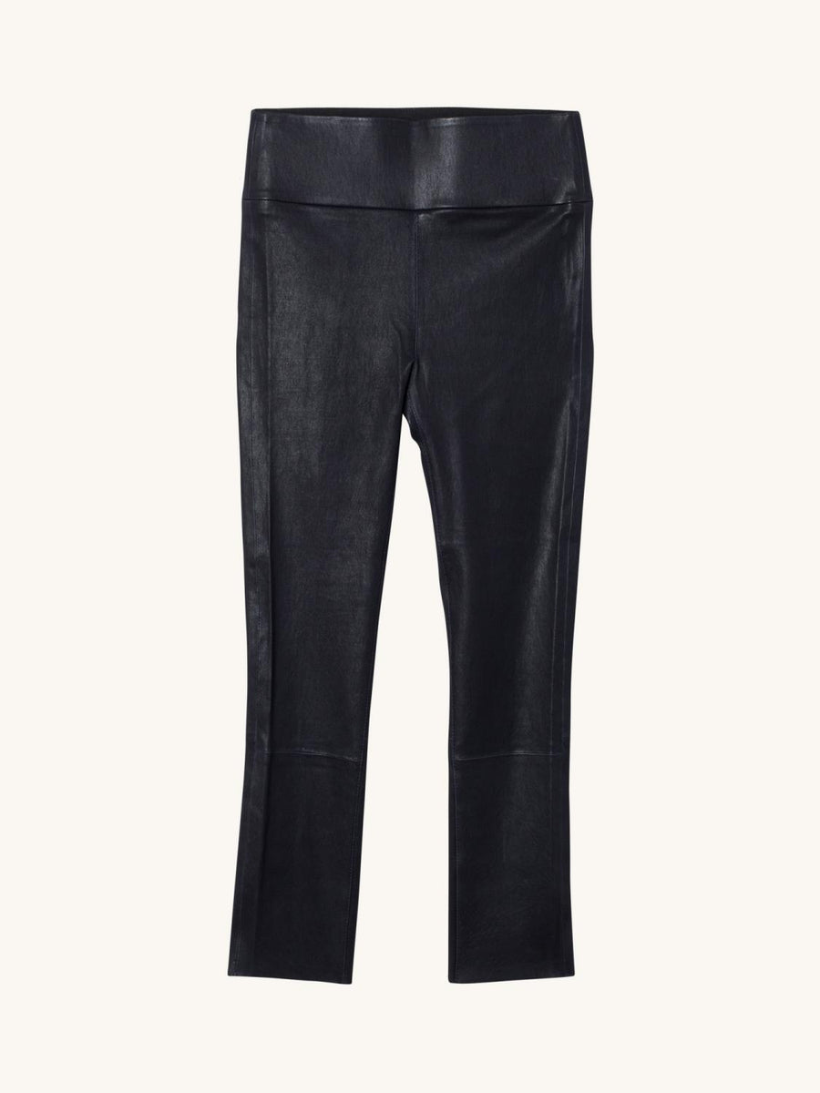 Navy 3/4 Capri Leather Legging