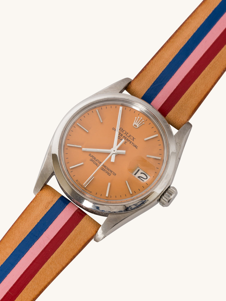 Orange Capitola Rolex Oyster Perpetual Date Watch