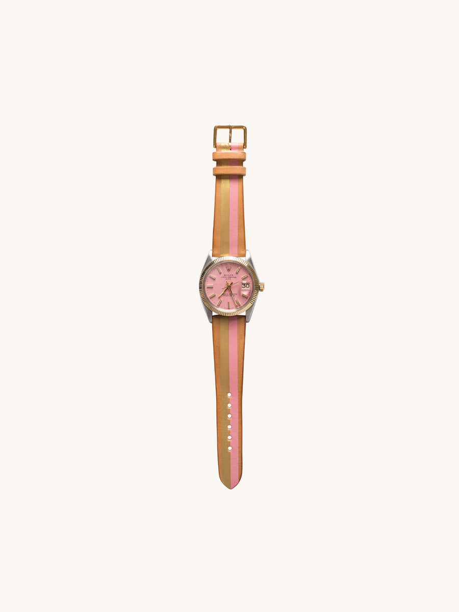 Flamingo Gilt Sunset Rolex Oyster Perpetual Date Watch