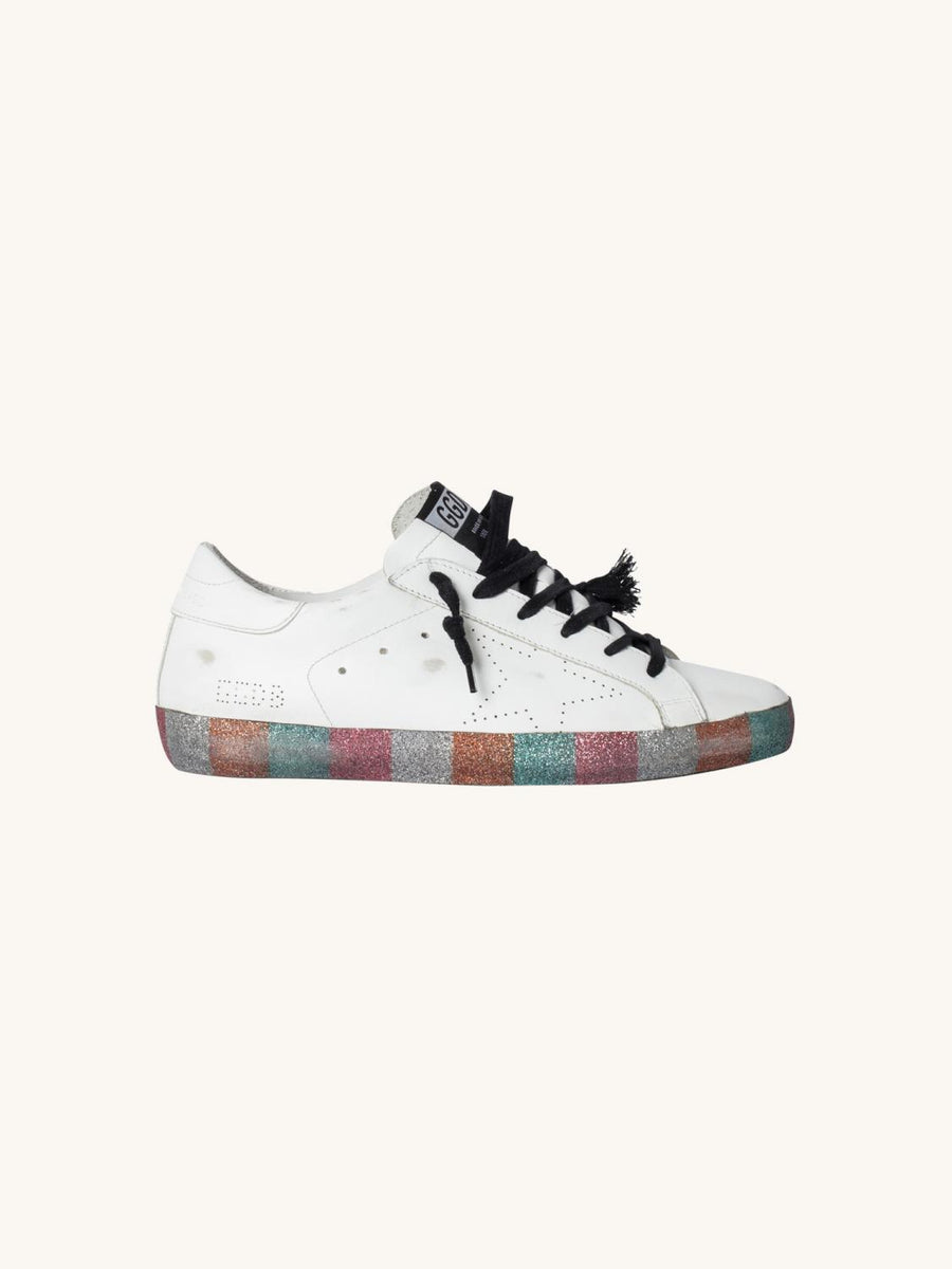 Superstar Sneaker in White with Glitter Block Stripes