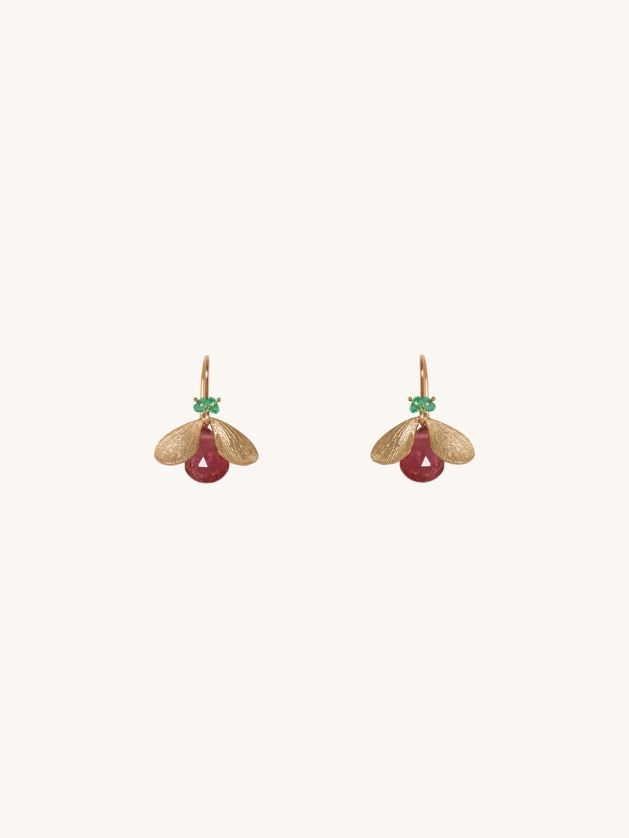 Rubelite & Emerald Bug Earrings