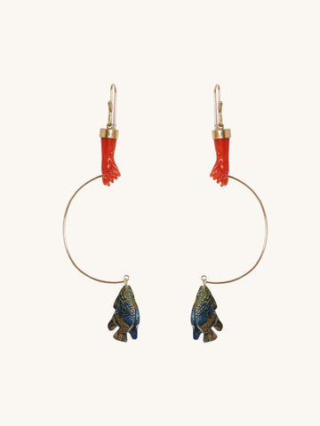 Gone Fishing Earrings in Coral & Azurite