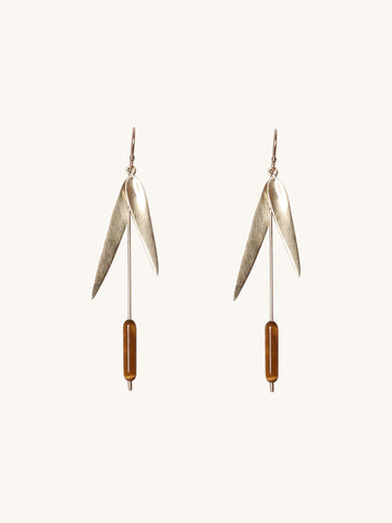 Large Cattail Earrings in Tiger's Eye