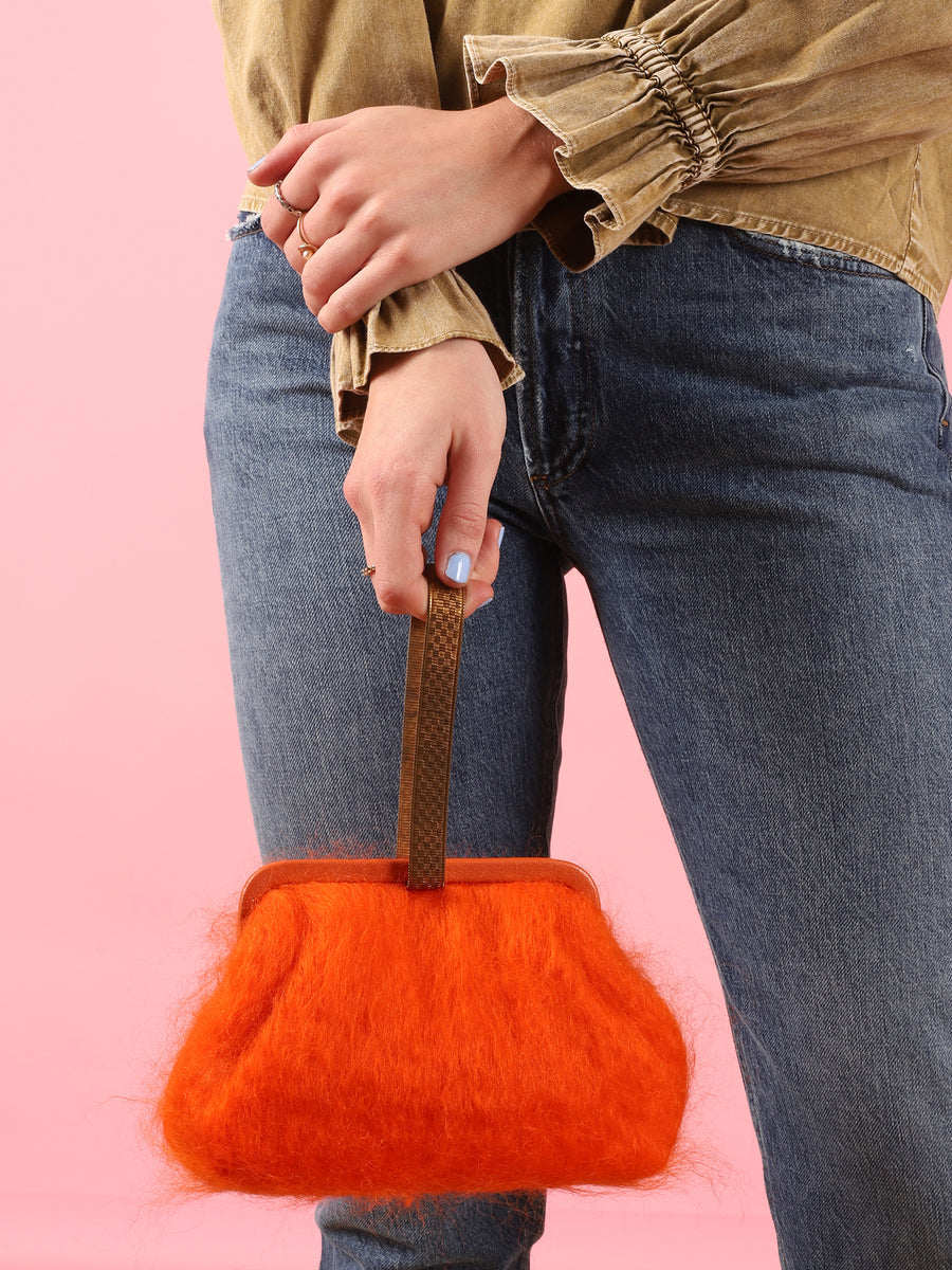 Susan Mohair Clutch in Orange