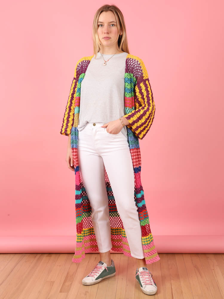 Rainbow Patterned Knit Duster
