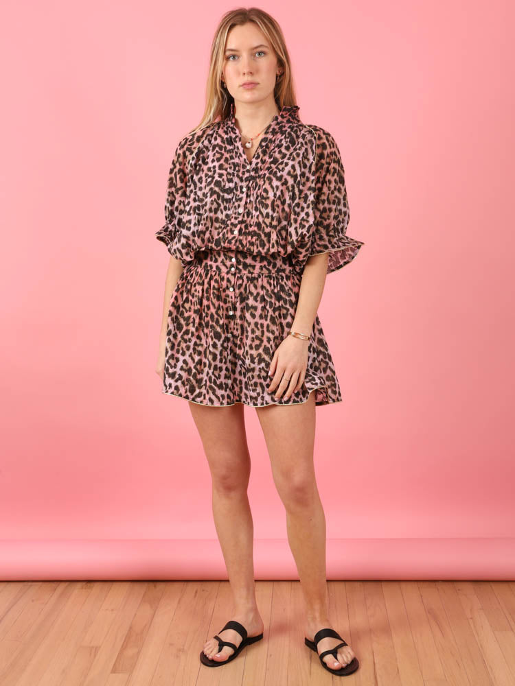 Tie Dye Leopard Blouson Dress
