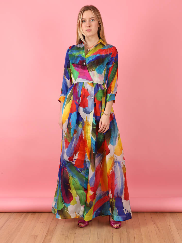Elena Long Multi Feather Dress
