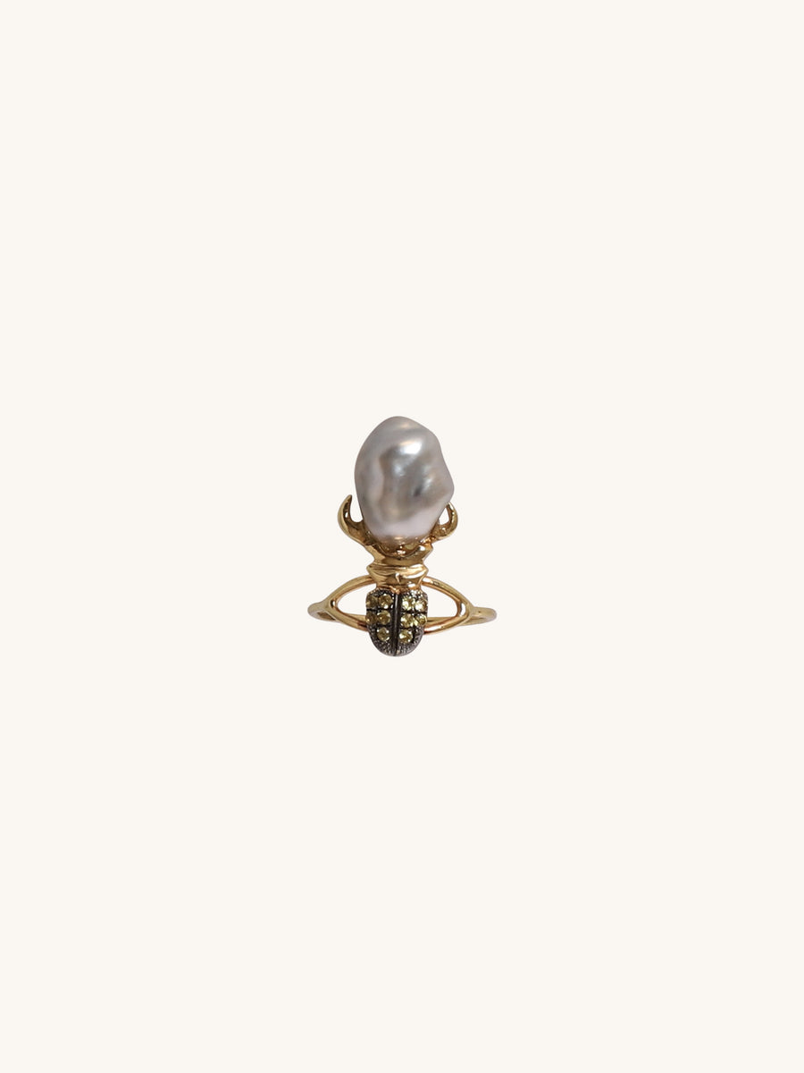 Beetle & Baroque Pearl Ring