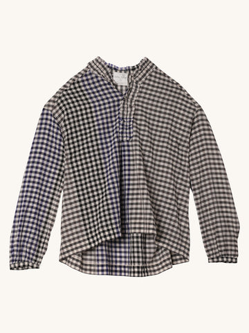 Lurex Check Shirt with Rouches