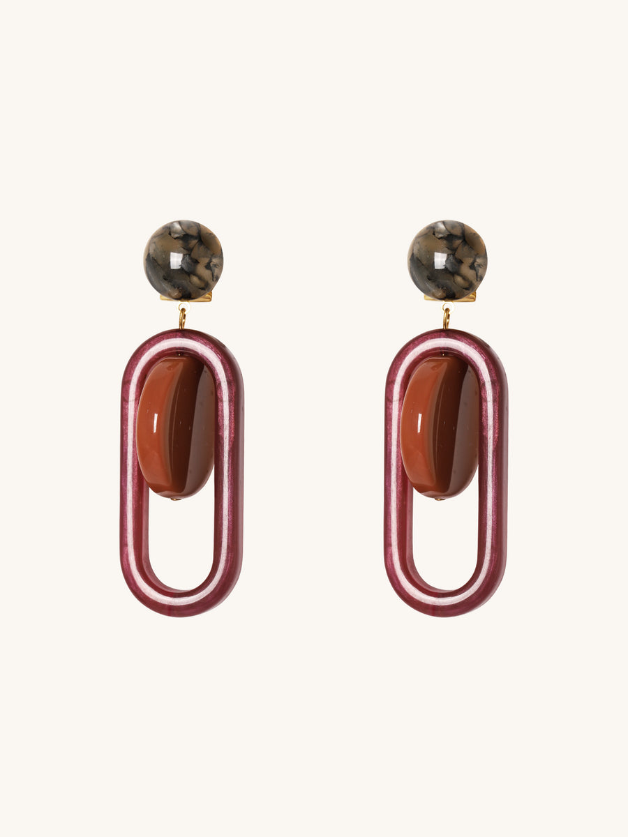 Lohr Earrings in Orange & Purple