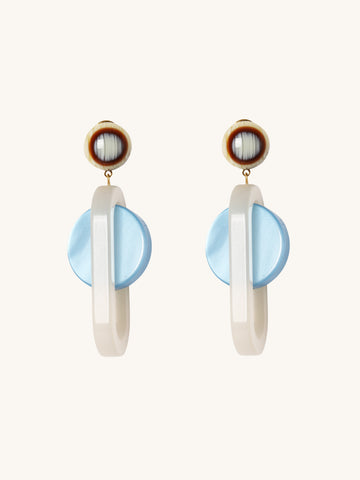 Lohr Earrings in Blue & Pearl