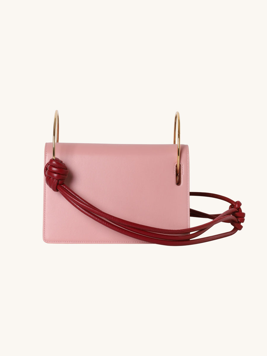 Knot Crossbody Leather Bag In Peony