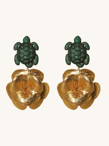 Caretta and Flower Earrings