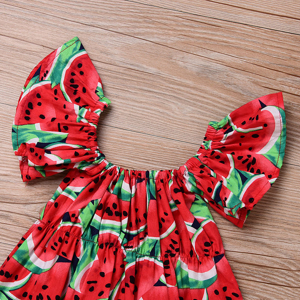Summer 2019  Baby Girls Watermelon  Romper  with Headband 2PCS  Outfit