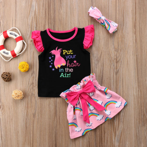 c06be1d502b2 Toddler Baby Girl Outfit Clothes Top T-shirt + Rainbow Skirt Dress ...