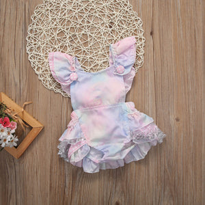 Cute Floral Baby Romper Ruffles Lace Jumpsuit Newborn Baby Girls Bow Outfits Children Clothes 0-24M