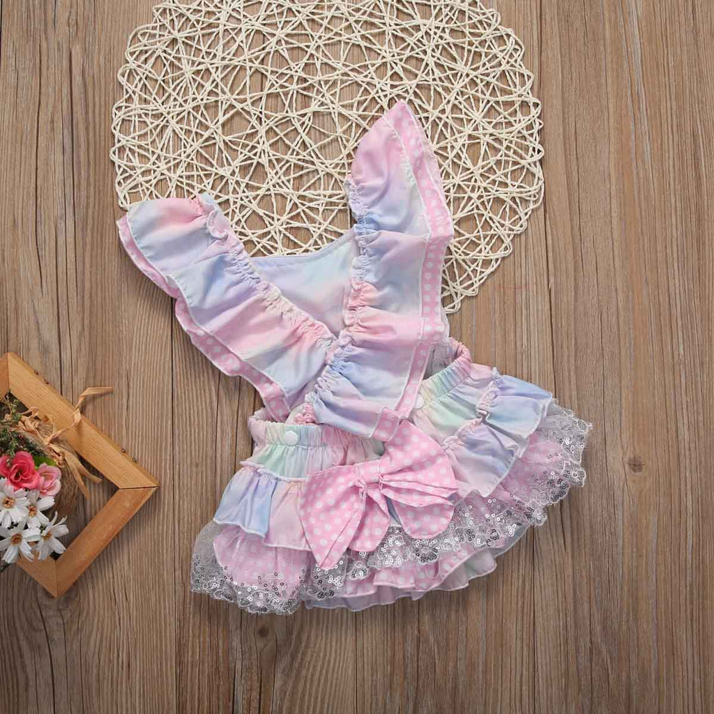 db2e62ec47c ... Cute Floral Baby Romper Ruffles Lace Jumpsuit Newborn Baby Girls Bow  Outfits Children Clothes 0- ...