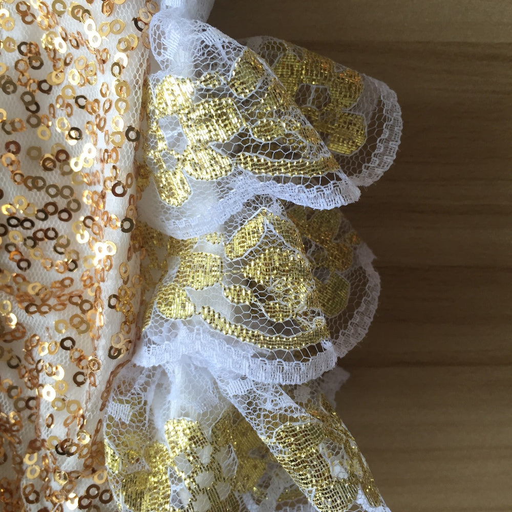abf52bf3b20a ... Boutique Baby Girl Outfits Gold Sequins Lace Ruffle Bubble Romper  Infant Clothing Baby kids Headband and ...