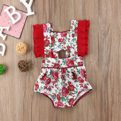 Baby Girls Lace Floral Romper Jumpsuit Outfit Clothes Summer Sunsuit
