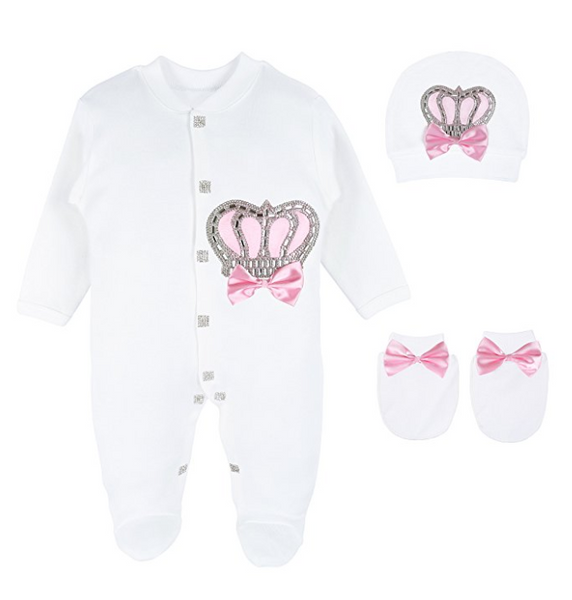 Baby Girl Royal Princess Crown Pink Set.  3 Pieces (2 Styles)