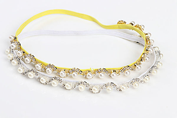 Sparkling Pearls Baby Head Newborn Photography Accessories Rhinestones Baby Girls Headbands Golden/Silver
