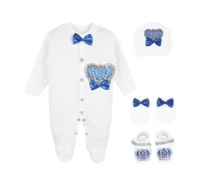 Babyboy Royal Prince Crown Jewels  4 Piece Set Take Home Outfit 0 to 3 Months