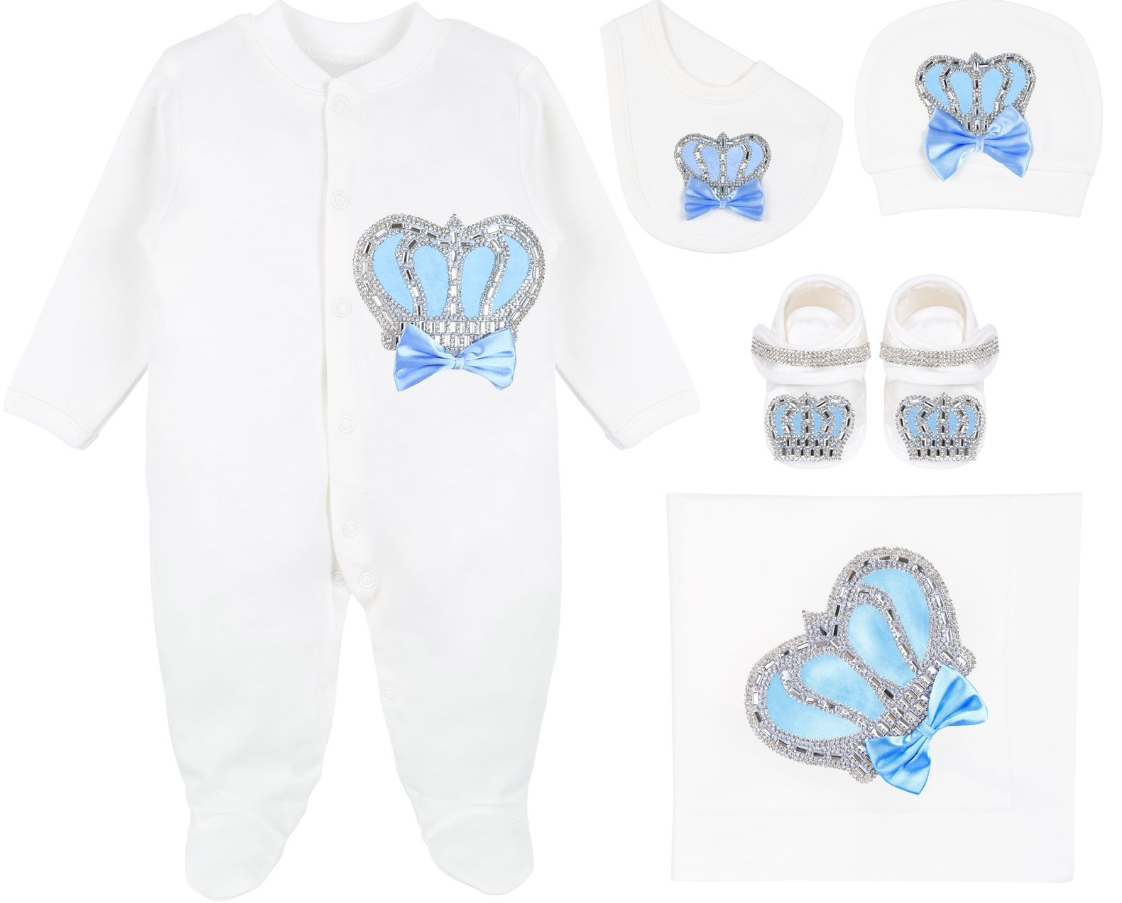 BabyBoy Royal Crown  5 Piece Deluxe Set in Baby Blue
