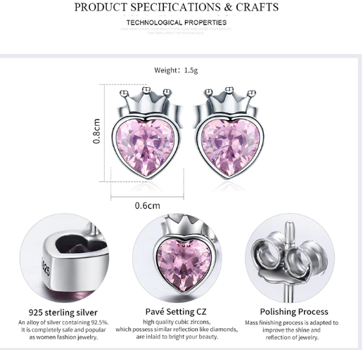 BAMOER Authentic 925 Sterling Silver Sweet Pink Heart of Crown Stud Earrings