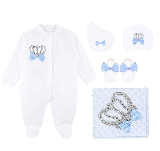 BabyBoy Royal Baby Blue Crown 5 Piece Set