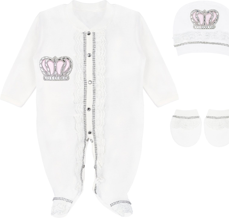 Baby Girl Lace Detail Crown Jewels Layette 3 Piece Pink Set 3-6M