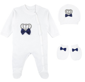 Take Home Outfit Baby Boy 3 piece Royal Crown. Navy Blue and Baby Blue (2 colors)