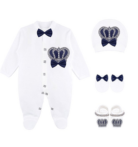 Baby Boy Royal Prince Crown Jewels in Navy Blue  4 Piece set