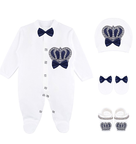 Navy Blue Royal Prince 4 Piece Take me home Outfit Babyboy 0 to 3 M