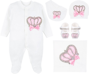 BabyGirl Royal Crown Pink Deluxe 5 Piece Set 0-3M