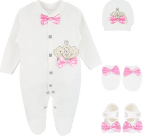 Babygirl Pearl Crown Take Home Outfit  Princess 4 piece set  babyshower gift