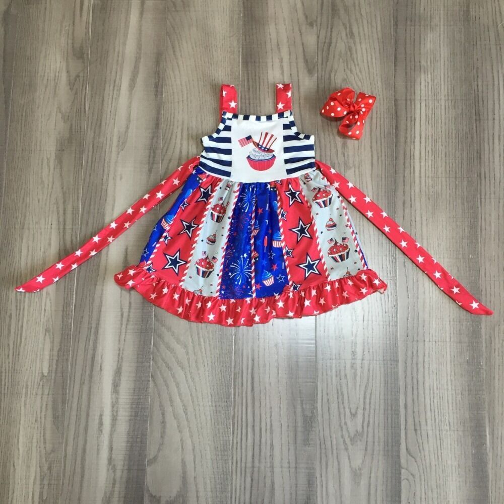 baby girls summer clothes girls twirl July 4th independence day dress girls red blue dress with bow