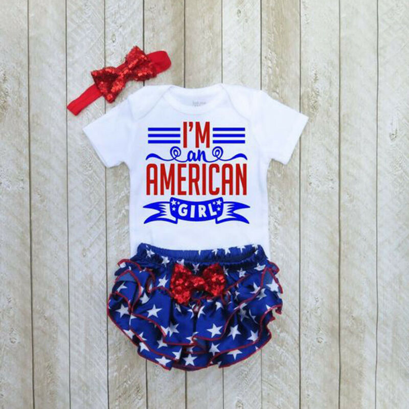 Baby Girl 4th Of July Patriotic Romper