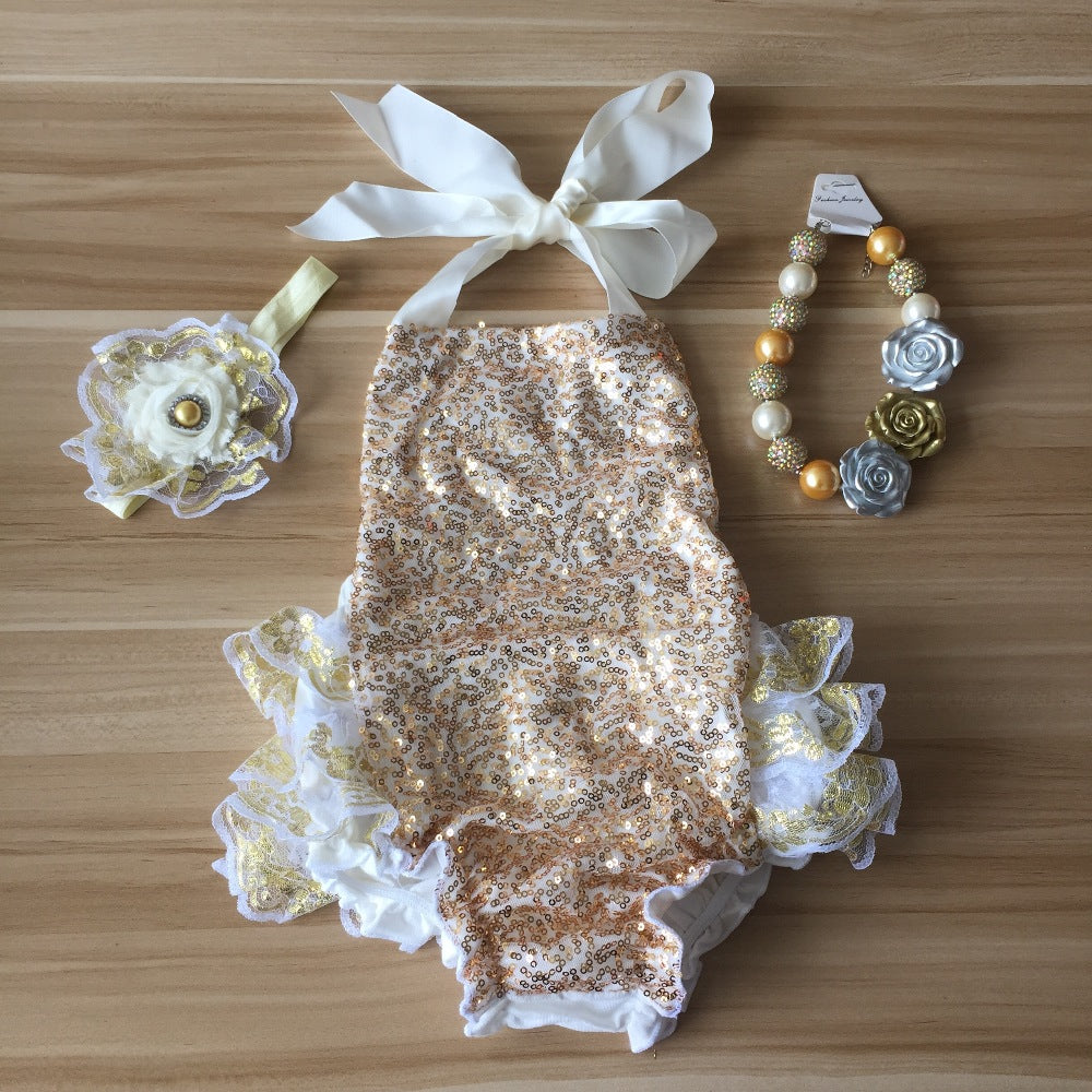 05d8f5b05 Boutique Baby Girl Outfits Gold Sequins Lace Ruffle Bubble Romper Infant  Clothing Baby kids Headband and Necklace set