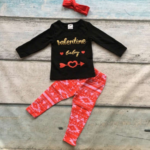Baby Girls Valentine's Day Outftis children Arrow top Red Aztec pants kids Girls Clothing with matching headband