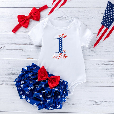 Toddler Baby Girls 4th Of July Letter Print Romper 2021