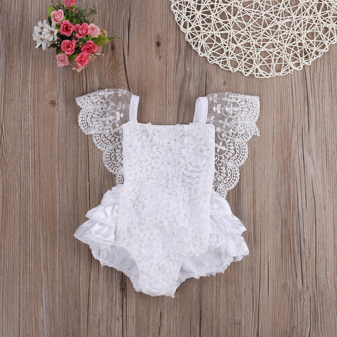 Newborn Infant Baby Girl Lace Tutu Romper Sleeveless  Smash Cake Outfits