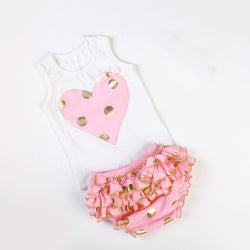 69c2c603abf0 Gold dot heart rompers set cute newborn baby cotton ruffle romper girl –  INDIEBABY