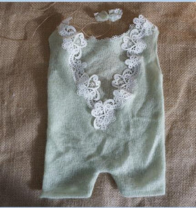Newborn Photo Props Newborn Gift Outfit Baby Photo Prop Baby Girl Lace  Knitted Baby Romper