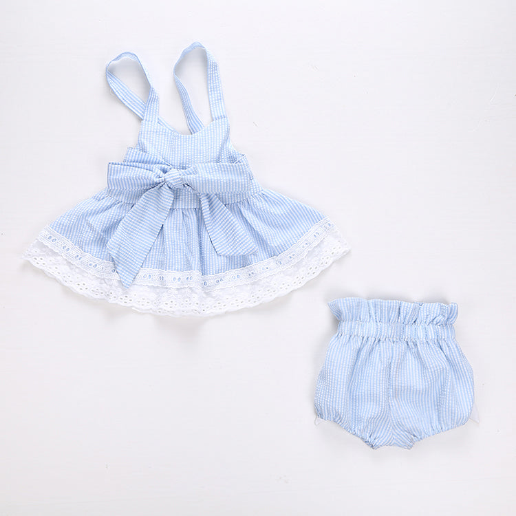Baby Girls  Bowknot  Clothes Summer Striped Vest Tops + Bottoms Outfit Toddler Kids Clothing Set