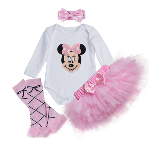 Baby Girl Clothing Set Printed Cotton bodysuits Pink Lace Skirt 4 pcs Sets Infant Clothes